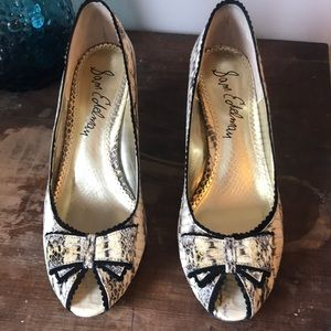 Sam Edelman peep toe Snake skin-look pumps 8M EUC